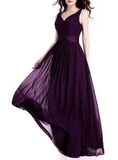 V Neck Pleated Formal Slim Maxi Prom Dress AZBRO.com