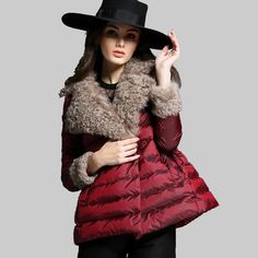 European and America Style 2015 New Fashion Ladies Turn Down Fur Collar Winter Duck Down Jacket Women Loose Patchwork Coat YB902