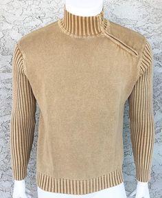 Buffalo David Bitton Men's Tan Mock Neck Shoulder Zip Sweater MEDIUM #BuffaloDavidBitton #Turtleneck