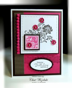 Item: birthday card Description: Card stamped and designed using quality papers, inks, ribbon and embellishments. Embellishment: pom pom trim,