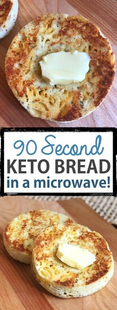 90 Second Keto Bread (in a microwave!) This Keto bread is quick, easy and low carb! The recipe calls for both almond flour and coconut flour giving it the best texture and taste yet. It bakes up in just a few minutes in your microwave, and is versatile en Ketogenic Recipes, Diet Recipes, Recipies, Vegetarian Recipes, Bread Recipes, Cookie Recipes, Tuna Recipes, Kale Recipes, Healthy Recipes