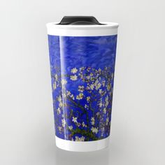 Van gogh Digital Abstract Daisy blue background Travel Mug #TravelMug #Travel #Mug #abstract #vangogh #paintings #starrynight #starry #night #abstractpainting #pattern #popart #blue #bluedaisy