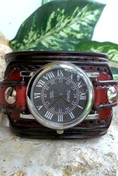 Mens watch cuff  leather wrist watch Light by CuckooNestArtStudio, $96.00