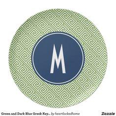Green and Dark Blue Greek Key Pattern Monogram Dinner Plate
