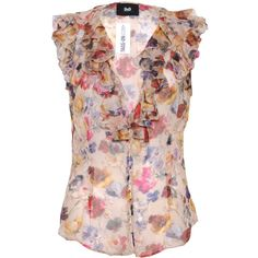 Pre-owned D&G Floral Print Sleeveless Blouse ($115) ❤ liked on Polyvore featuring tops, blouses, multi, denim top, floral top, sleeveless blouse, pink top and collared blouse
