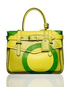 Reed Krakoff lemon-lime target satchel