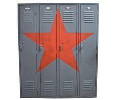 paint high school letters on it Repurposed Lockers, Vintage Lockers, Metal Lockers, Refurbished Furniture, Antique Furniture, Painted Furniture, Modern Furniture, Office Interior Design, Office Interiors