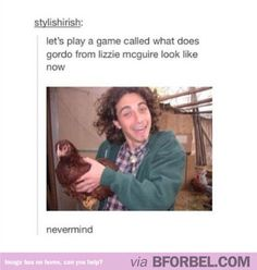 """Ever wondered what Gordo from """"Lizzie McGuire"""" looks like now? Here he is holding a chicken."""