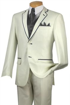 #Solid #white or #Ivory with #charcoal #trim #microfiber #two #button #notch #lapel #tuxedo.$585