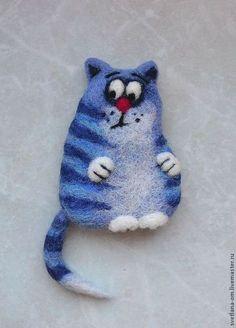 """Броши ручной работы. Ярмарка Мастеров - ручная работа Валяная брошь """"Синий кот2"""". Handmade."""