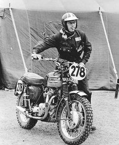 Rider: Steve McQueen  Ride: Triumph  Outfit: Barbour International, Bell RT