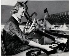 Woman in Car with Record Player Vinyl Records Lady Driver Unusual Vintage Photography Black White Vinyl Record Player, Record Players, Vinyl Records, Weird Vintage, Vintage Ads, Vintage Stuff, Vintage Photos, Funny Vintage, Vintage Photography