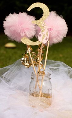 Ballerina Party Princess Party Pink and Gold First Birthday Photo Prop Centerpiece Table Decoration Ballerina Centerpiece, Ballerina Party Decorations, Ballerina Birthday Parties, Party Table Decorations, 3rd Birthday Parties, Princess Birthday, Girl Birthday, Wedding Decoration, Birthday Table