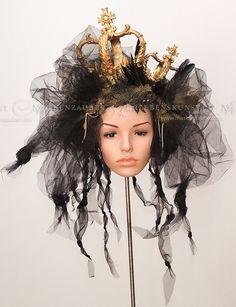 Kopfschmuck - Headdress Queen, Kopfschmuck mit Kronen, Crown - ein Designerstück von Maskenzauber bei DaWanda
