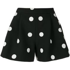 Boutique Moschino polka dot shorts (18,545 DOP) ❤ liked on Polyvore featuring shorts, pants, black, boutique moschino, polka dot shorts and dotted shorts