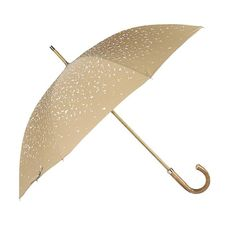 Raindrop printed Polyester canopy. Wooden Stick. Nickel finishes, engraved tip cup. Natural Bark Chestnut handle. Available in Camel/White, #mrstanford