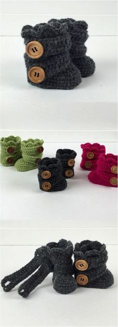 Newborn Crochet Dark Gray Slipper Boots - We all know that baby shoes are the cutest things on the planet, but wait till you see these hand-crochet'ed baby booties! So precious!! | Made on Hatch.co by independent makers & artists