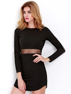 Long Sleeve Mesh Insert Waist Mini Dress