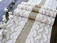 Wedding table runner with pale pink lace rustic by HotCocoaDesign