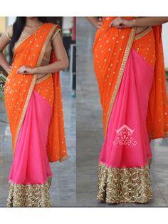 Orange And Pink Color Georgette Saree