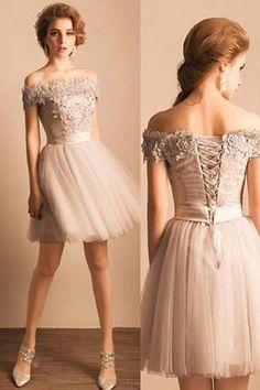 Prom Dresses 2018 #PromDresses2018, Short Prom Dresses #ShortPromDresses, Lace Prom Dresses #LacePromDresses