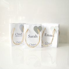 Wedding favour bags white with silver heart tag set of 5