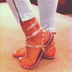 Studded, strappy flat sandals