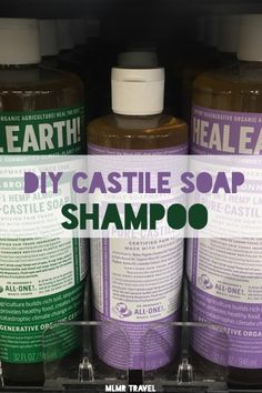 Incredibly Easy DIY Castile Soap Shampoo - Ecofriendly | MLMR Travel Castille Soap Shampoo, Castile Soap Uses, Castile Soap Recipes, Liquid Castile Soap, Glycerin Soap, Homemade Shampoo Recipes, Natural Shampoo Recipes, Homemade Facials, Homemade Products