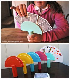 DIY Card Holder for little hands. This is so flippin' smart!