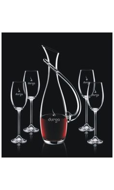 4 Wine Glasses are added to the lyrical decanter to create a stunning gift set, which is the perfect gift for anyone who enjoys wine and the finer things in life. Have all the pieces custom engraved with your special design, logo or message.