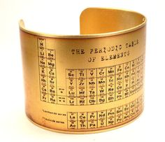 Cuff with periodic table on it.  What a fun gift for the female scientist in your life!