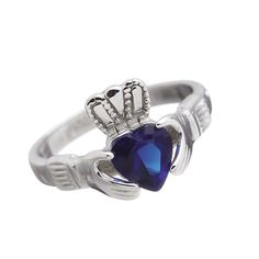 September - Blue Sapphire Birthstone Claddagh Ring