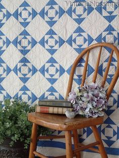 """Antique Dated 1927 Blue & White Gentleman's Fancy Youth QUILT 63x56"""""""