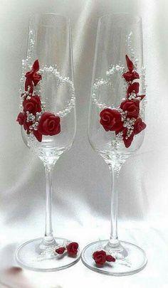 Red decorative stemware