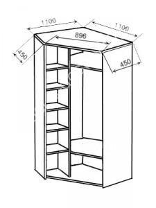 8500 руб, есть венге Зеркальная дверь 1200 руб Двухдверный угловой шкаф | Мебель с доставкой