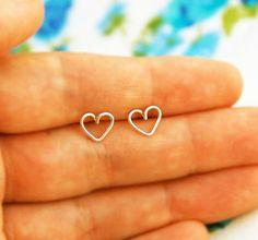 Tiny heart gold earrings, heart stud earrings, small post earrings gold, minimalist earrings, simple studs, everyday jewelry, heart earrings...