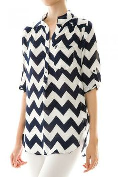 Navy Chevron Top Spring Summer Fashions Women Outfits Boutique