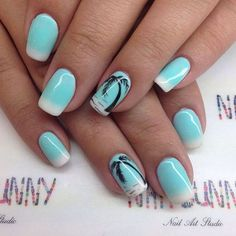 August nails, Azure nails, Beautiful summer nails, Blue and white nails, French manicure ideas 2016, Palm tree nail art, Sea nails, Summer French nails 2016