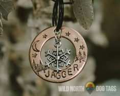 Perfect for the adventure dog or cat in your life. Fully customizable and available in copper, gold or aluminum and in several shapes like circle tags, hexagon tags, dog tags and hanging bar tags. Wild North, Pet Tags, Washer Necklace, Adventure, Dog, Pets, Accessories, Diy Dog, Dogs