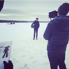 Jeff Finn braving the storm at out Fall/Winter 2014 Photoshoot