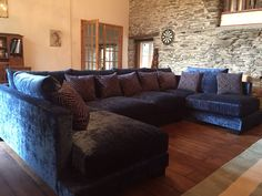 Zinnia 355 cm x 205 cm U shaped sofa in Modena crushed velvet Prussian Blue with O&L scatter cushions.