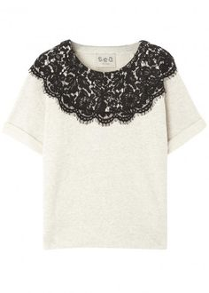 Monochrome lace and jersey top - Women Sea Ny, White Jersey, Harvey Nichols, Cute Tops, Black Tops, Monochrome, Trousers, Shorts, Lace