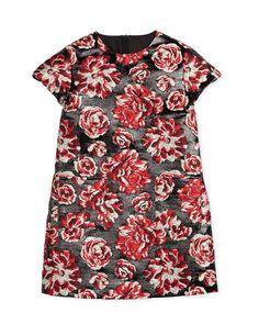 Peony Brocade Sheath Dress, Black/Raspberry, Size 8-12, Size: 12 - Lanvin