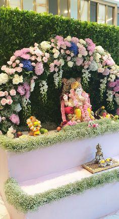 Diwali Decorations At Home, Wedding Stage Decorations, Backdrop Decorations, Flower Decorations, House Decorations, Festival Decorations, Flower Decoration For Ganpati, Eco Friendly Ganpati Decoration, Ganpati Decoration Design