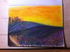 Bild mit Öl-Kreide - Landschaft in der Provence
