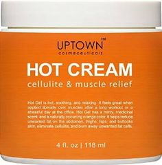 Anti Cellulite Hot Cream From Uptown Cosmeceuticals Reduces Appearance of Cellulite, Promotes Supple & Toned Skin, Muscle Relaxer, Great Alternatives to Expansive Treatment, 4 Fl. Oz
