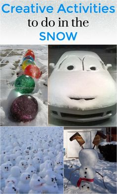 When the snow comes, it is important to be prepared with some creative activities to do in the snow! Now, most kids are happy building a snowman or having a snowball fight or building a snow fort, but here are some creative twists on these typical activities and some additional ideas if they are looking for more!! One can never be too prepared!
