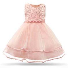 499334beef9 Baby Girls Pearls Mesh Vintage Gown. Cielarko Baby Girls Dress Pearls Mesh Infant  Party Dresses ...
