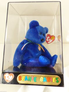 vtg 1998 TY BEANIE BABY BLUE CLUBBY I IN ORIGINAL TY DISPLAY BOX CASE - Retired