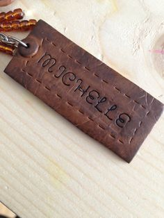 Personalized Faux Leather Polymer Clay Keychain by LunaBlueGifts